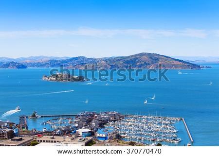 View of Alcatraz island from San Francisco - stock photo