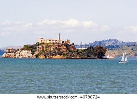 View of Alcatraz island prison near San Francisco on a sunny day - stock photo