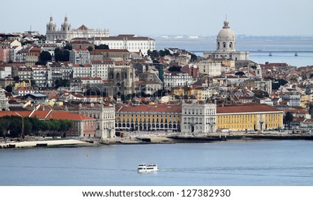 View of Alfama and Graca - the old quarters of Lisbon  Portugal - stock photo