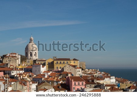 View of Alfama District and Tagus River, Lisbon, Portugal - stock photo