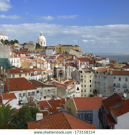 View of Alfama - famous district in Lisbon. Portugal - stock photo