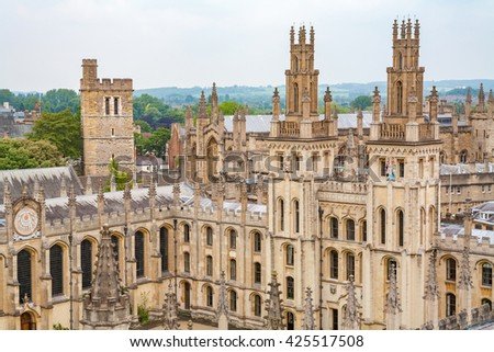 View of All Souls College at the university of Oxford. Oxford, England - stock photo