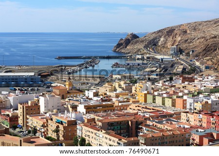 View of Almeria Bay seen from the Alcazaba. - stock photo