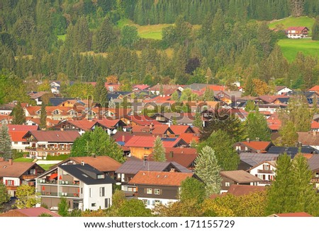 stock-photo-view-of-alpine-town-of-obers