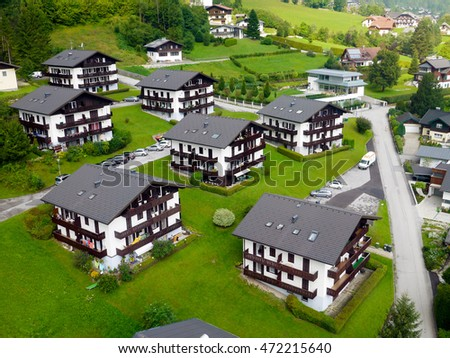 View of Alpine village from above.