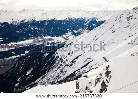 View of Alps around Innsbruck from Nordkette, Tyrol, Austria, Europe - stock photo