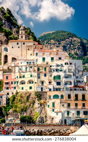 View of Amalfi. Amalfi is a charming, peaceful resort town on the scenic Amalfi Coast of Italy