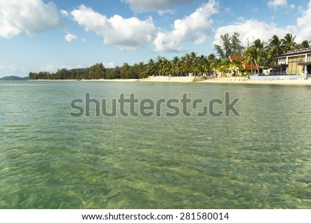 view of amazing, tropical beach in Thailand. summer holidays background - stock photo