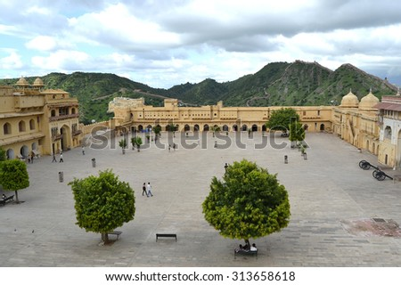 View of Amber fort courtyard, Jaipur, India, Rajasthan (2011) - stock photo