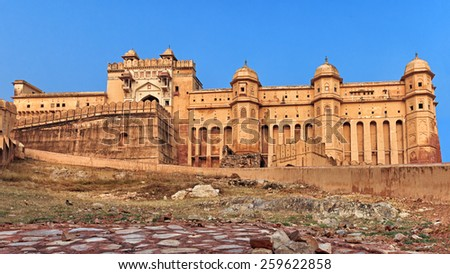 View of Amber fort from low ground, Jaipur, India, Rajasthan - stock photo