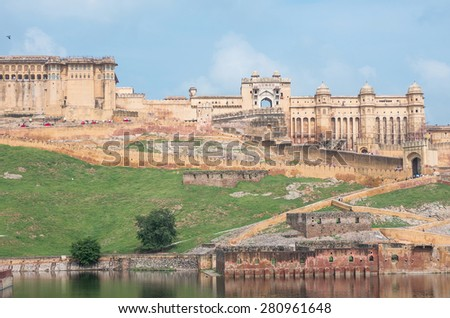 view of Amber fort, Rajasthan - India - stock photo