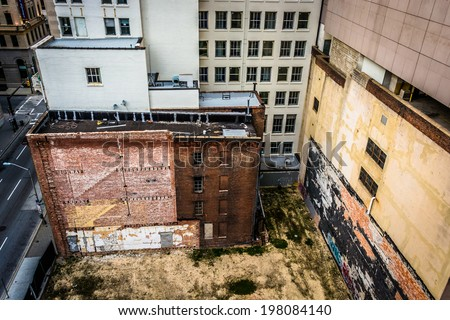 View of an abandoned building from a parking garage in Baltimore, Maryland.