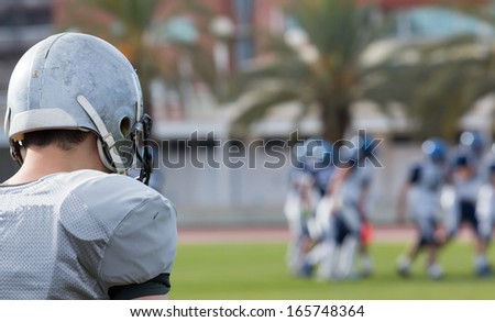 View of an American football game - stock photo