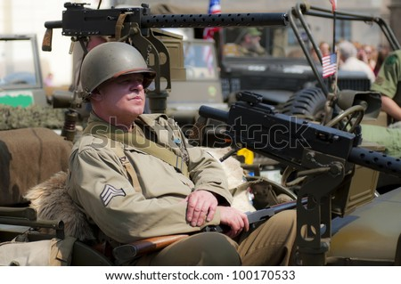 View of an American veteran during the sunny day.