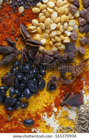 View of an assortment of spices and  ingredients used in indian and other asian cuisines. - stock photo