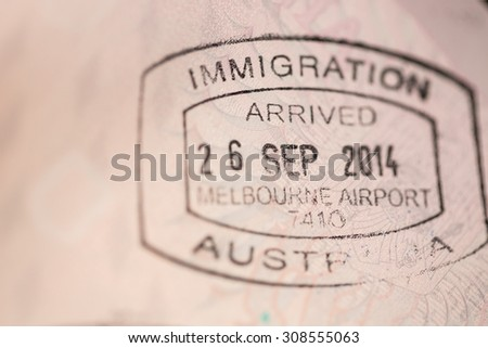 View of an Australian entry stamp visa on an european passport.