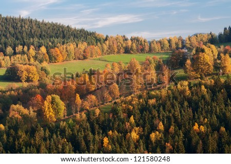 View of an autumn European countryside during the sunny day. - stock photo