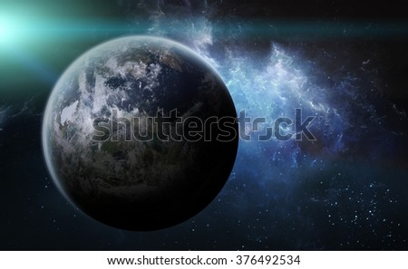 View of an exoplanet from space during a sunrise 'elements of this image furnished by NASA' - stock photo