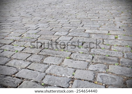 View of an Old Cobble Stone Street - stock photo