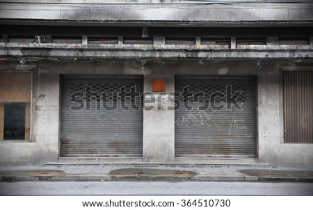 View of an Old Derelict Building - stock photo