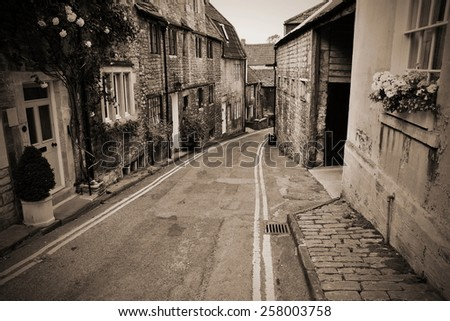 View of an Old Empty Street in an English Town - stock photo