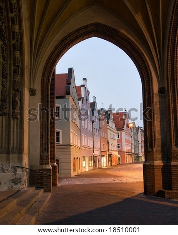 View of an old German town through the arch