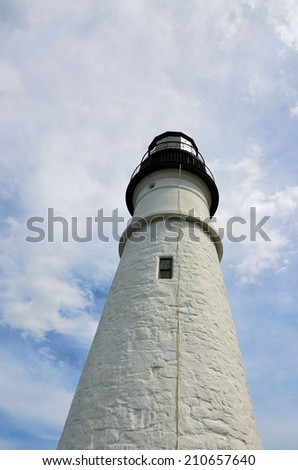 View of an old Light House along the Atlantic coast.  - stock photo