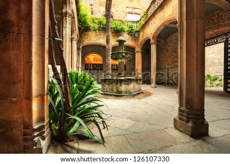 view of an typical patio in Spain - stock photo