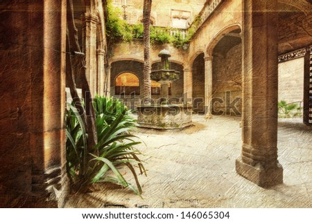 view of an typical patio in Spain - picture in artistic retro style. - stock photo
