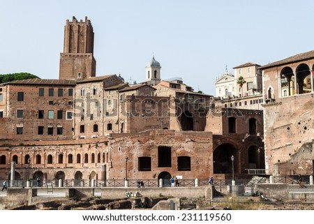 View of ancient buildings in Rome, Italy