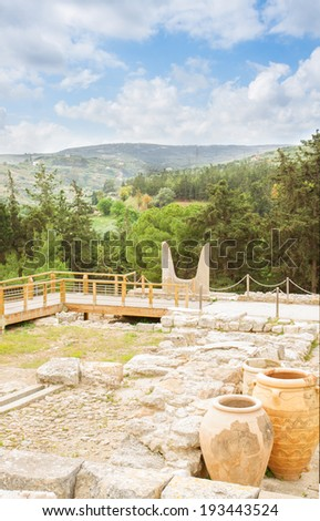 view of ancient ruines of Knossos palace at Crete, Greece - stock photo
