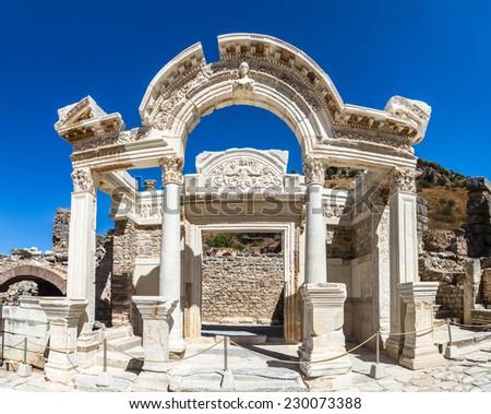 View of ancient ruins of Ephesus, Izmir, Turkey. - stock photo