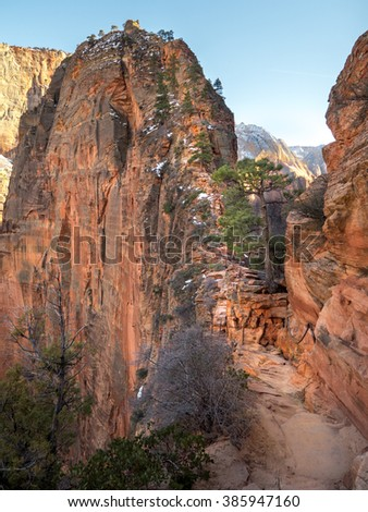 View of Angels landing hike in Zion national park, Utah