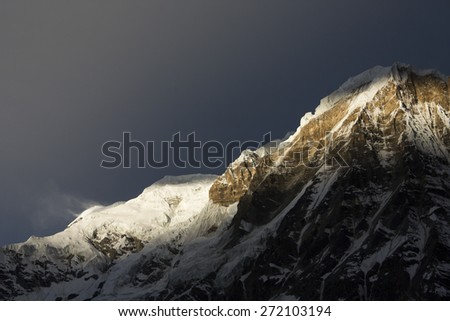 View of Annapurna I from Annapurna Base Camp Himalaya Mountains in Nepal - stock photo