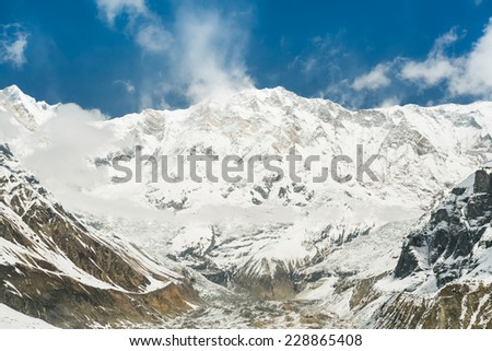 View of Annapurna I mountain, 8,091 m (26,545 ft). Nepal, Himalayas. Annapurna I is tenth among Earth's fourteen eight-thousanders.  - stock photo