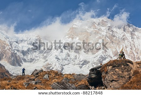 View of Annapurna I with the moraine of the glacier - Nepal, Himalayas