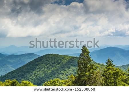 View of Appalachian mountains in north Georgia, USA. - stock photo