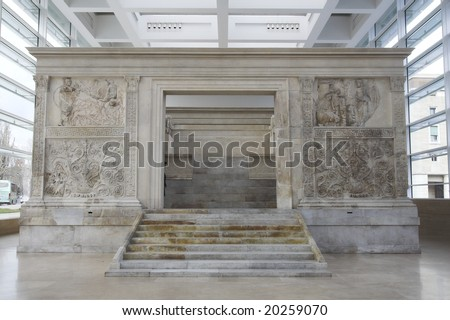 view of Ara Pacis at Rome - stock photo