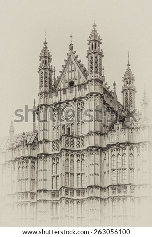 View of Architectural details of Palace of Westminster (known as Houses of Parliament) located on bank of River Thames in City of Westminster, London. Antique vintage. - stock photo