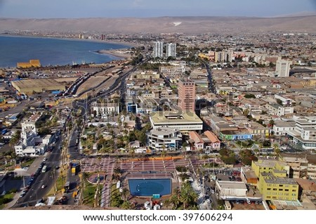 View of Arica from El Morro, Chile - stock photo
