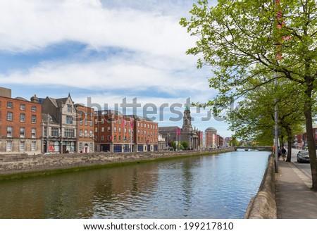 View of Arran Quay in Dublin city centre - stock photo