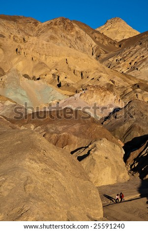 View of Artist Palette and Tourists in Death Valley