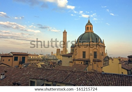 view of asinelli tower - bologna, italy - stock photo