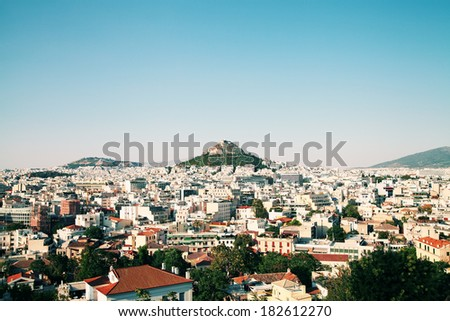 View of Athens, Greece. View of the Lycabettus. - stock photo