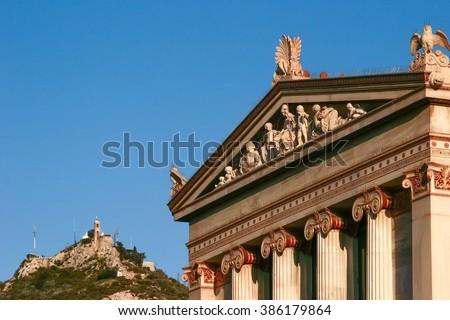 View of Athens Parthenon and Mount Lycabettus - stock photo