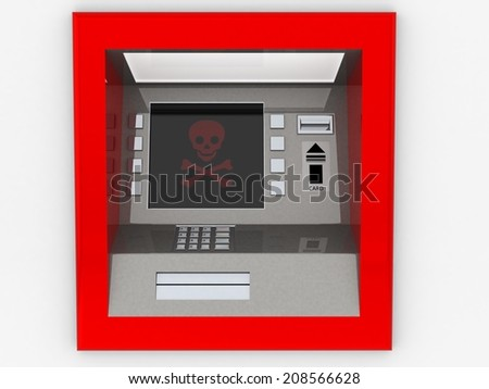 View of ATM in an isolated white background - stock photo