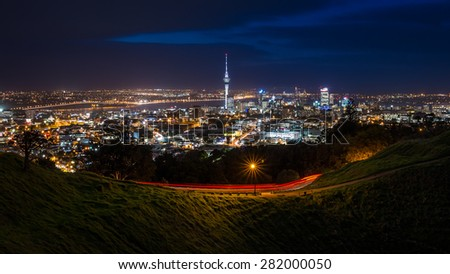 View of Auckland City from Mt Eden Summit - stock photo