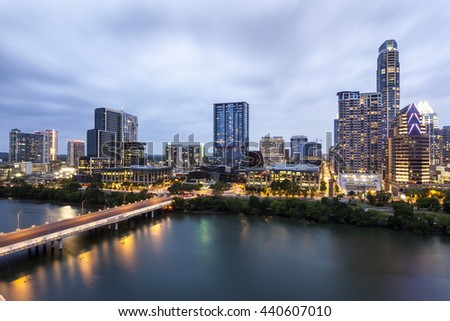 View of Austin downtown illuminated at night. Texas, United States - stock photo