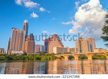 view of Austin, Texas downtown skyline - stock photo