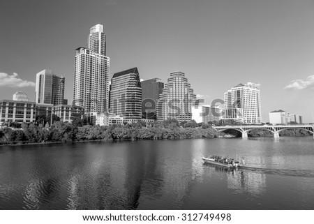 view of Austin, Texas downtown skyline - stock photo